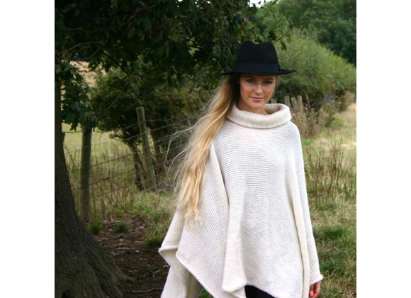 Roll neck poncho extra long