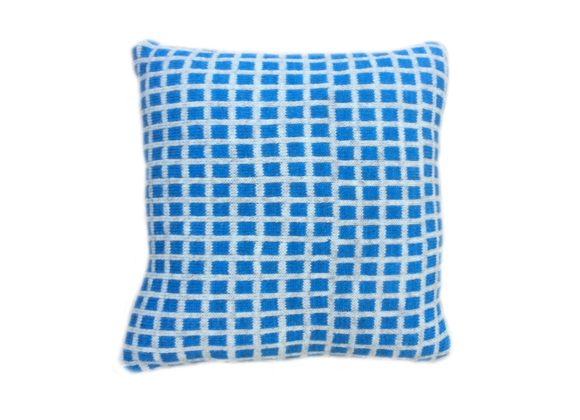 Natural wool geo print knitted cushion