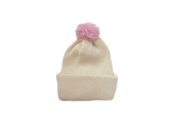 Ribbed bobble hat - cream with baby pink bobble