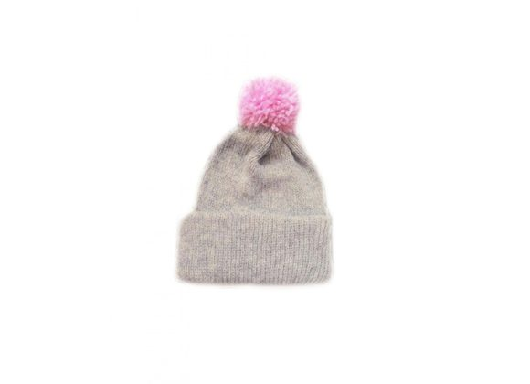Ribbed bobble hat - light grey with baby pink bobble