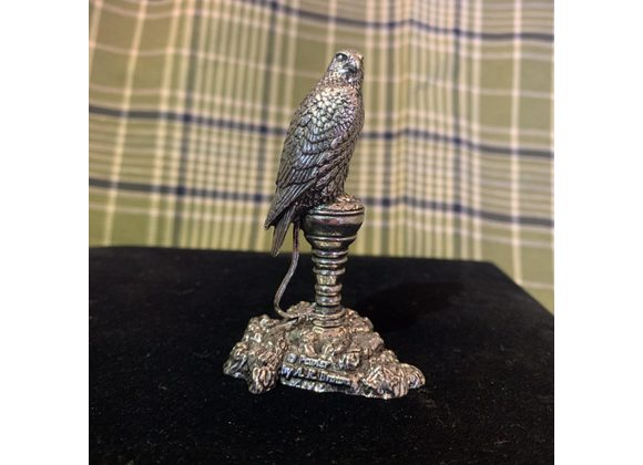 English Pewter Falcon on a block